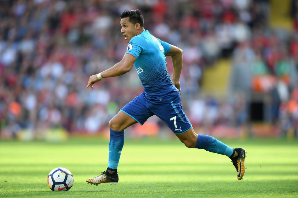LIVERPOOL, ENGLAND - AUGUST 27: Alexis Sanchez of Arsenal in action during the Premier League match between Liverpool and Arsenal at Anfield on August 27, 2017 in Liverpool, England.  (Photo by Michael Regan/Getty Images)