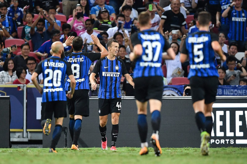 SINGAPORE - JULY 29: Ivan Perisic #44 of FC Interernazionale celebrates during the International Champions Cup match between FC Internazionale and Chelsea FC at National Stadium on July 29, 2017 in Singapore.  (Photo by Thananuwat Srirasant/Getty Images  for ICC)