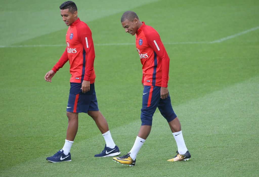 SAINT-GERMAIN-EN-LAYE, FRANCE - SEPTEMBER 6: Marquinhos, Kylian Mbappe during Paris Saint Germain (PSG) training session at Centre Ooredoo training camp on September 6, 2017 in Saint-Germain-en-Laye, France. (Photo by Jean Catuffe/Getty Images)