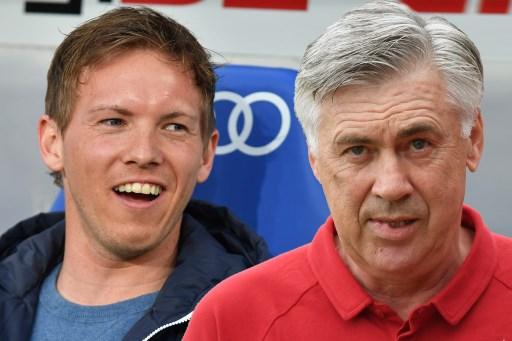 Fussball 1. Bundesliga/ Vorschau TSG 1899 Hoffenheim-FC Bayern Munich am 09.09.2017. Showdown von Julian NAGELSMANN ,Trainer  (1899 Hoffenheim) und Carlo ANCELOTTI (Trainer FCB). FOTOMONTAGE, | Verwendung weltweit