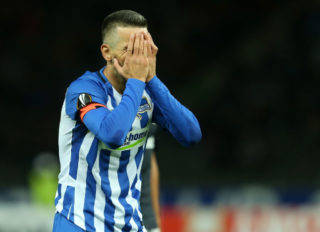 BERLIN, GERMANY - SEPTEMBER 14:  Vedad Ibisevic of Berlin gestures during the UEFA Europa League group J match between Hertha BSC and Athletic Bilbao at Olympiastadion on September 14, 2017 in Berlin, Germany. (Photo by Matthias Kern/Bongarts/Getty Images)