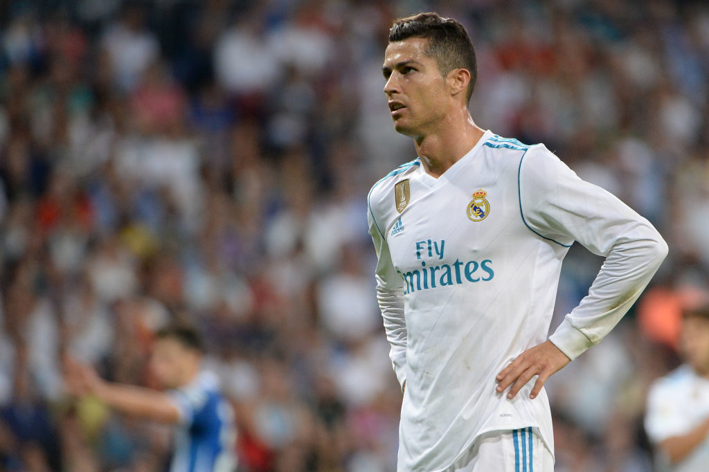 MADRID, SPAIN - OCTOBER 1:  Cristiano Ronaldo, #7 of Real Madrid during the La Liga match between Real Madrid v Espanyol at Santiago Bernabeu on October 1, 2017 in Madrid, Spain. (Photo by Sonia Canada/Getty Images)