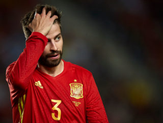 MURCIA, SPAIN - JUNE 07:  Gerard Pique of Spain reacts during the international friendly match between Spain and Colombia at Nueva Condomina stadium on June 7, 2017 in Murcia, Spain.  (Photo by fotopress/Getty Images)