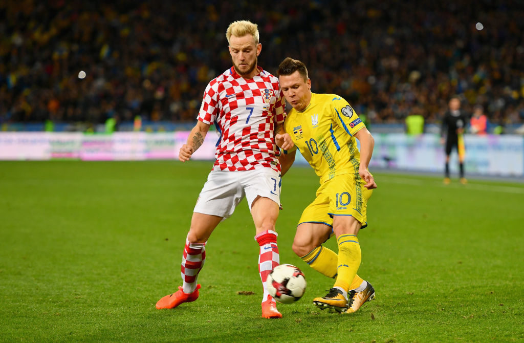 during the FIFA 2018 World Cup Group I Qualifier between Ukraine and Croatia at Kiev Olympic Stadium on October 9, 2017 in Kiev, Ukraine.