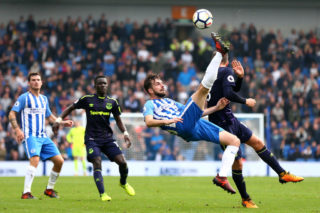 BRIGHTON, ENGLAND - OCTOBER 15: Davy Propper of Brighton and Hove Albion attempts and overhead kick during the Premier League match between Brighton and Hove Albion and Everton at Amex Stadium on October 15, 2017 in Brighton, England.  (Photo by Steve Bardens/Getty Images)