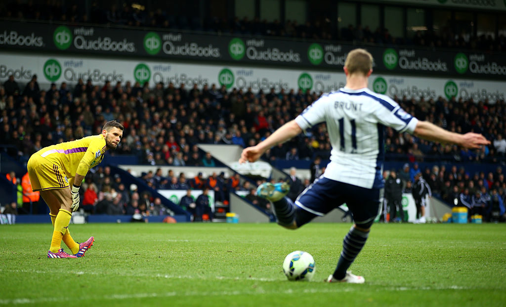 WEST BROMWICH, ENGLAND - MARCH 14:  Ben Foster of West Brom watches Chris Brunt take a goal kick for him after sustained an injury during the Barclays Premier League match between West Bromwich Albion and Stoke City at The Hawthorns on March 14, 2015 in West Bromwich, England.  (Photo by Richard Heathcote/Getty Images)