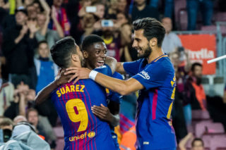 BARCELONA, SPAIN - SEPTEMBER 09: Luis Alberto Suarez Diaz (L) of FC Barcelona celebrates after scoring his goal with Ousmane Dembele (C) and Andre Filipe Tavares Gomes (R) of FC Barcelona during the La Liga match between FC Barcelona vs RCD Espanyol at the Camp Nou on 09 September 2017 in Barcelona, Spain. (Photo by Power Sport Images/Getty Images)
