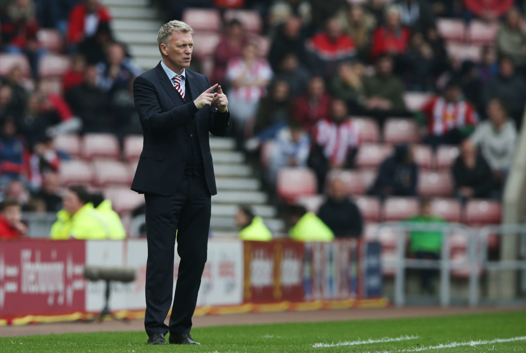 SUNDERLAND, ENGLAND - APRIL 29: David Moyes, Manager of Sunderland reacts during the Premier League match between Sunderland and AFC Bournemouth at the Stadium of Light on April 29, 2017 in Sunderland, England.  (Photo by Nigel Roddis/Getty Images)