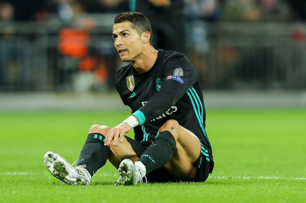 LONDON, ENGLAND - NOVEMBER 01: Cristiano Ronaldo of Real Madrid on the ground during the UEFA Champions League group H match between Tottenham Hotspur and Real Madrid at Wembley Stadium on November 1, 2017 in London, United Kingdom. (Photo by TF-Images/TF-Images via Getty Images)