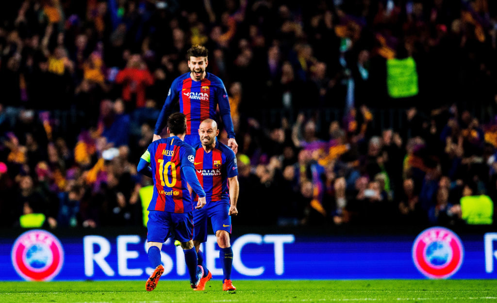 BARCELONA, SPAIN - MARCH 08:  Lionel Messi, Javier Mascherano and Gerard Pique of Barcelona celebrate after winning 6-1 the UEFA Champions League Round of 16 second leg match between FC Barcelona and Paris Saint-Germain at Camp Nou on March 08, 2017 in Barcelona, Spain.  (Photo by Vladimir Rys Photography/Getty Images)