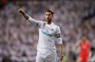 MADRID, SPAIN - NOVEMBER 05: Sergio Ramos of Real Madrid CF points during the La Liga match between Real Madrid and Las Palmas at Estadio Santiago Bernabeu on November 5, 2017 in Madrid, Spain. (Photo by Denis Doyle/Getty Images)