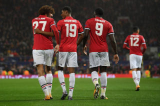 MANCHESTER, ENGLAND - SEPTEMBER 12: Marcus Rashford of Manchester United celebrates scoring his sides third goal with Marouane Fellaini of Manchester United and Romelu Lukaku of Manchester United during the UEFA Champions League Group A match between Manchester United and FC Basel at Old Trafford on September 12, 2017 in Manchester, United Kingdom.  (Photo by Laurence Griffiths/Getty Images)