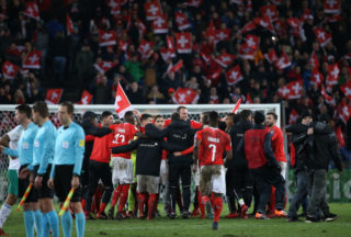 BASEL, SWITZERLAND - NOVEMBER 12: Players of Switzerland celebrate the qualification for Russia following the FIFA 2018 World Cup Qualifier Play-Off: Second Leg between Switzerland and Northern Ireland at St. Jakob-Park stadium on November 12, 2017 in Basel, Basel-Stadt, Switzerland. (Photo by Jean Catuffe/Getty Images)