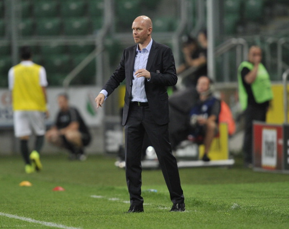 WARSAW, POLAND Ð JULY 30: Henning Berg head coach of Legia reacts during the third qualifying round UEFA Champions League match between Legia and Celtic at Pepsi Arena on July 30, 2014 in Warsaw, Poland. (Photo by Piotr Hawalej/Getty Images)