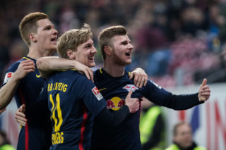 MAINZ, GERMANY - APRIL 05:  Timo Werner of Leipzig (R) celebrates his team's second goal with team mate Emil Forsberg (2R) during the Bundesliga match between 1. FSV Mainz 05 and RB Leipzig at Opel Arena on April 5, 2017 in Mainz, Germany.  (Photo by Simon Hofmann/Getty Images)