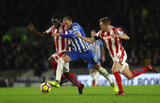 during the Premier League match between Brighton and Hove Albion and Stoke City at Amex Stadium on November 20, 2017 in Brighton, England.