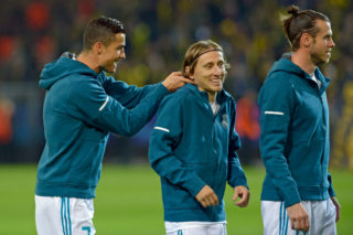 DORTMUND, GERMANY - SEPTEMBER 26: Cristiano Ronaldo of Real Madrid , Luka Modric of Real Madrid , Gareth Bale of Real Madrid looks on during the UEFA Champions League group H match between Borussia Dortmund and Real Madrid at Signal Iduna Park on September 26, 2017 in Dortmund, Germany. (Photo by TF-Images/TF-Images via Getty Images)