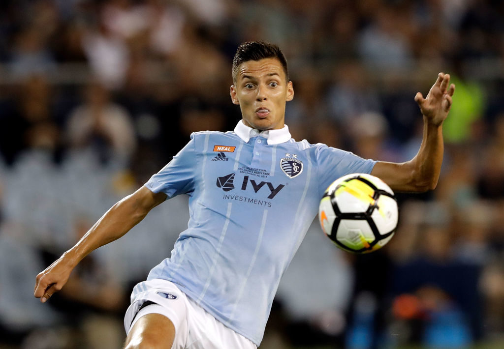 KANSAS CITY, KS - SEPTEMBER 20:  Daniel Salloi #30 of Sporting Kansas City scores during the 2017 U.S Open Cup Final against the New York Red Bulls at Children's Mercy Park on September 20, 2017 in Kansas City, Kansas.  (Photo by Jamie Squire/Getty Images)