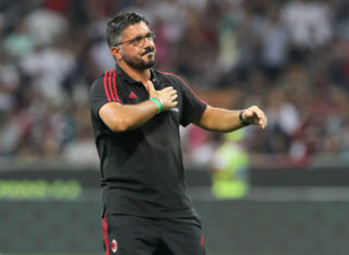 during the Serie A match between AC Milan and Cagliari Calcio at Stadio Giuseppe Meazza on August 27, 2017 in Milan, Italy.