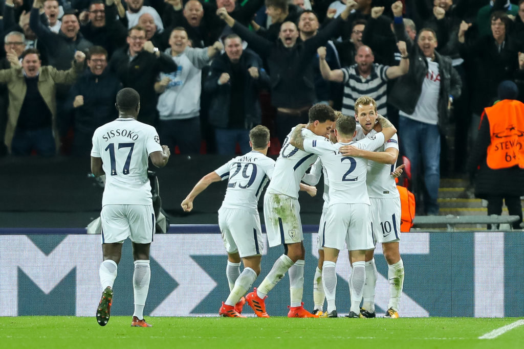 LONDON, ENGLAND - NOVEMBER 01: Christian Eriksen of Tottenham celebrates after scoring his team`s third goal with team mates during the UEFA Champions League group H match between Tottenham Hotspur and Real Madrid at Wembley Stadium on November 1, 2017 in London, United Kingdom. (Photo by TF-Images/TF-Images via Getty Images)