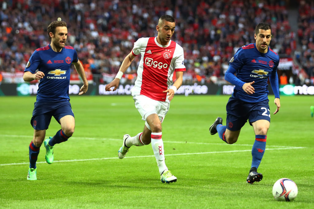 STOCKHOLM, SWEDEN - MAY 24:  Henrikh Mkhitaryan of Manchester United, Juan Mata of Manchester United Hakim Ziyech of Ajax in action during the UEFA Europa League Final between Ajax and Manchester United at Friends Arena on May 24, 2017 in Stockholm, Sweden.  (Photo by Dean Mouhtaropoulos/Getty Images)