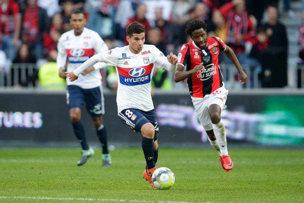 NICE, FRANCE - NOVEMBER 26: Houssem Aouar of Olympique Lyon during the French League 1  match between Nice v Olympique Lyon at the Allianz Riviera on November 26, 2017 in Nice France (Photo by Eric Verhoeven/Soccrates/Getty Images)