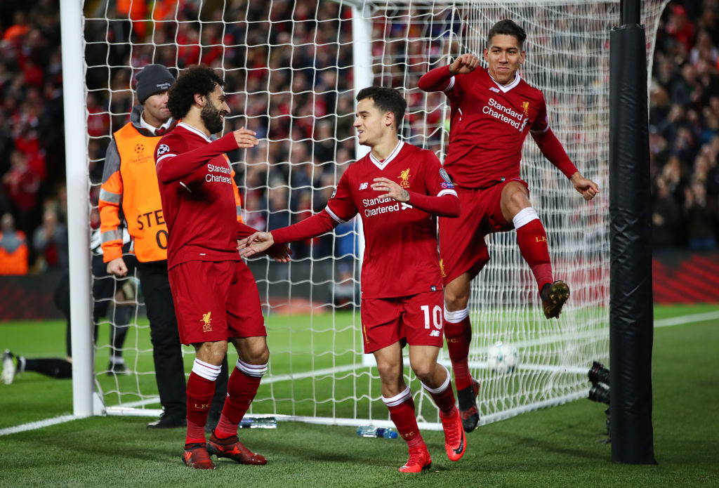 LIVERPOOL, ENGLAND - DECEMBER 06: Philippe Coutinho of Liverpool celebrates after scoring his sides fifth goal during the UEFA Champions League group E match between Liverpool FC and Spartak Moskva at Anfield on December 6, 2017 in Liverpool, United Kingdom.  (Photo by Clive Brunskill/Getty Images)