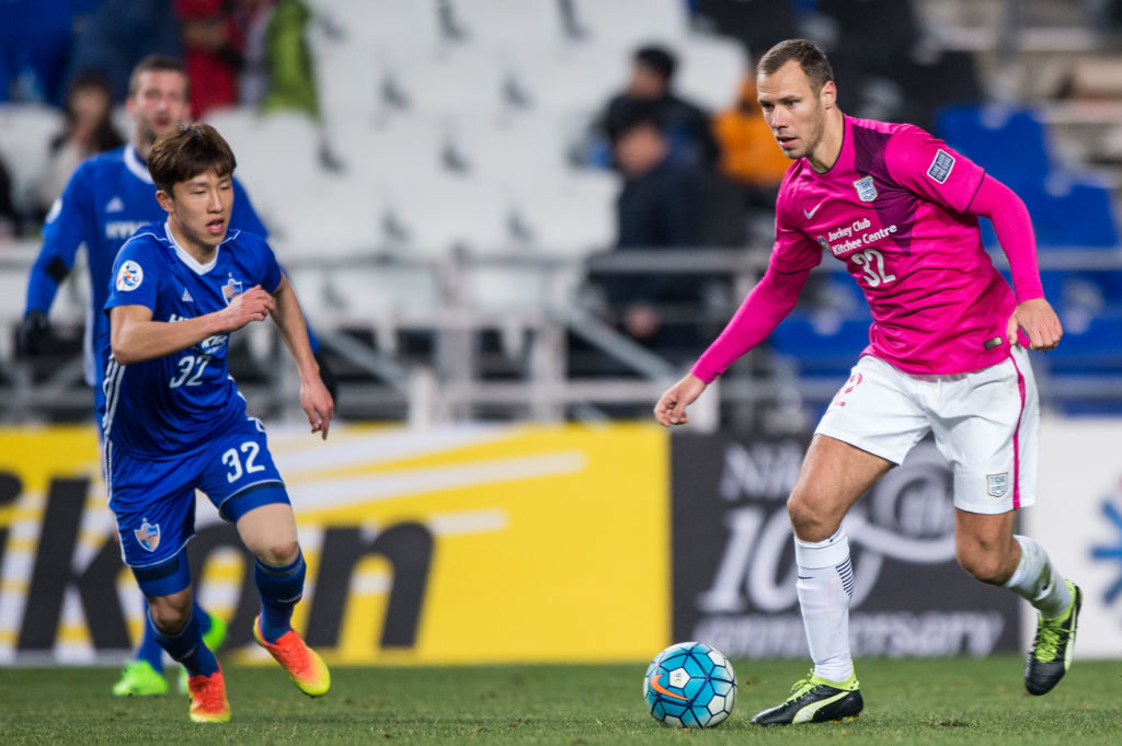 ULSAN, SOUTH KOREA - FEBRUARY 2: Kitchee Midfielder Krisztian Vadocz (R) in action during their AFC Champions League 2017 Playoff Stage match between Ulsan Hyundai FC (KOR) vs Kitchee SC (HKG) at the Ulsan Munsu Football Stadium on 07 February 2017 in Ulsan, South Korea. (Photo by Power Sport Images/Getty Images)