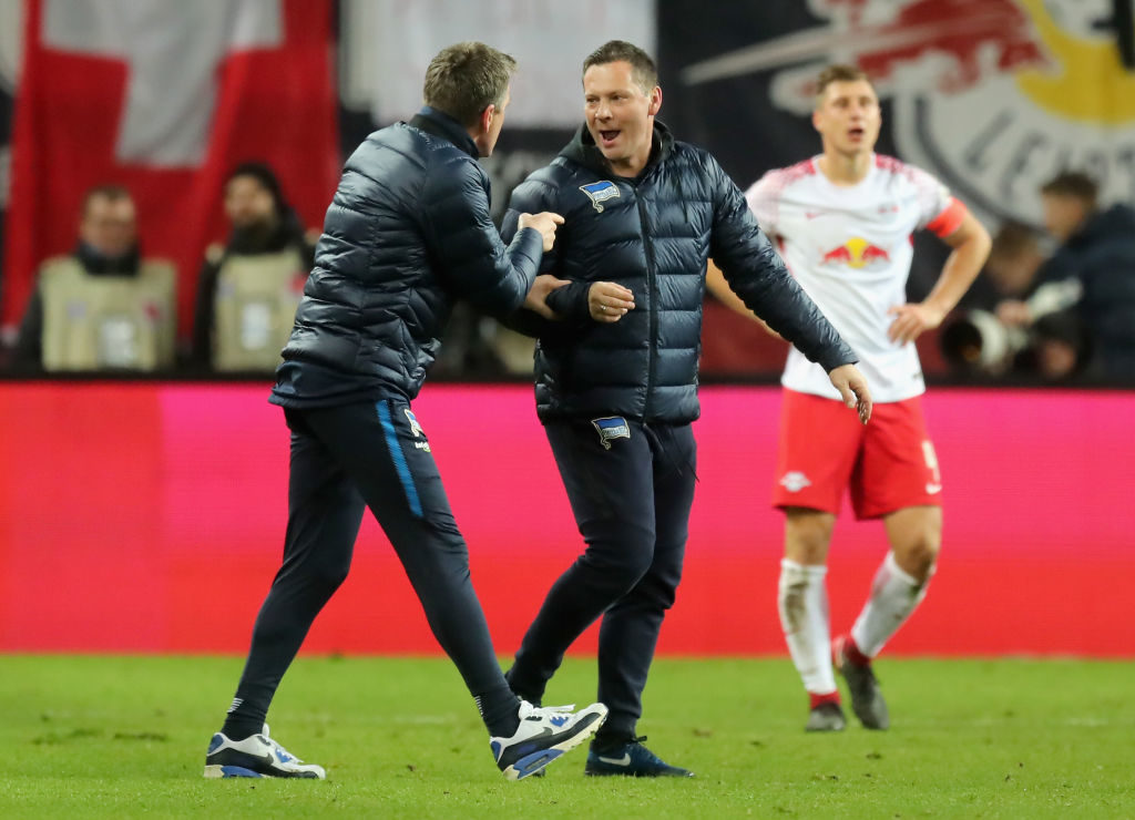 LEIPZIG, GERMANY - DECEMBER 17:  Head coach Pal Dardai of Hertha BSC celebrates after winning the Bundesliga match between RB Leipzig and Hertha BSC at Red Bull Arena on December 17, 2017 in Leipzig, Germany.  (Photo by Boris Streubel/Bongarts/Getty Images)