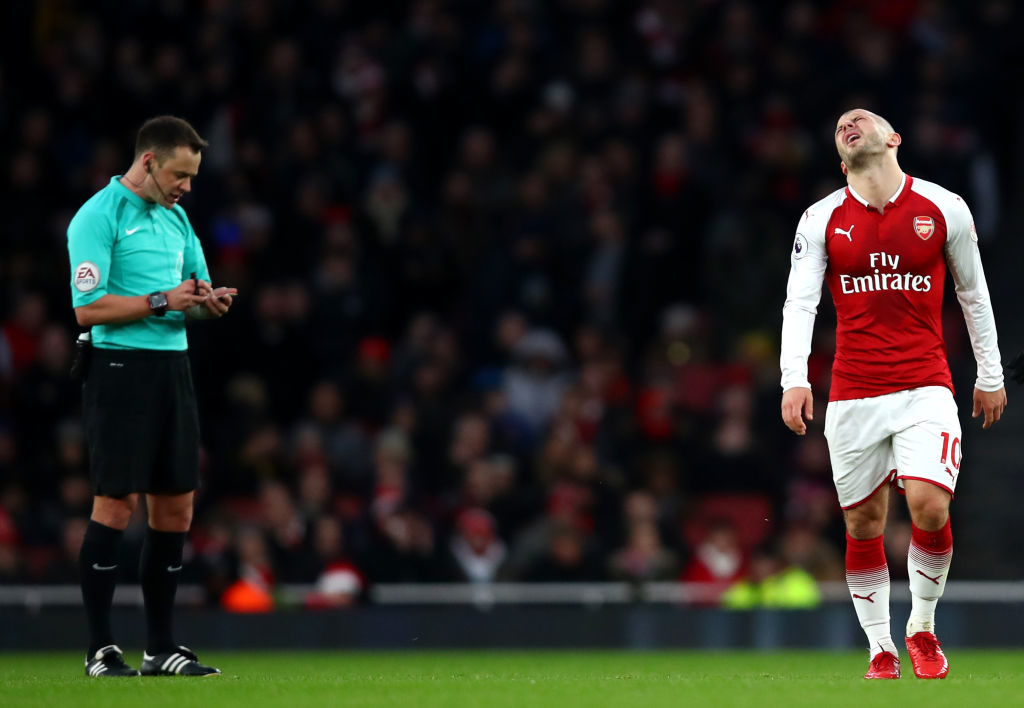 LONDON, ENGLAND - DECEMBER 16:  Jack Wilshere of Arsenal reacts during the Premier League match between Arsenal and Newcastle United at Emirates Stadium on December 16, 2017 in London, England.  (Photo by Julian Finney/Getty Images)