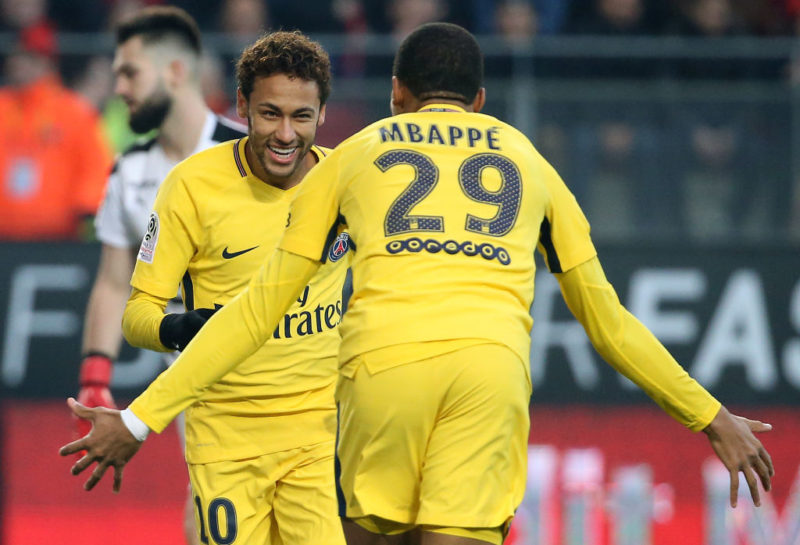 RENNES, FRANCE - DECEMBER 16: Neymar Jr of PSG celebrates his goal with Kylian Mbappe during the French Ligue 1 match between Stade Rennais and Paris Saint Germain (PSG) at Roazhon Park on December 16, 2017 in Rennes, France. (Photo by Jean Catuffe/Getty Images)