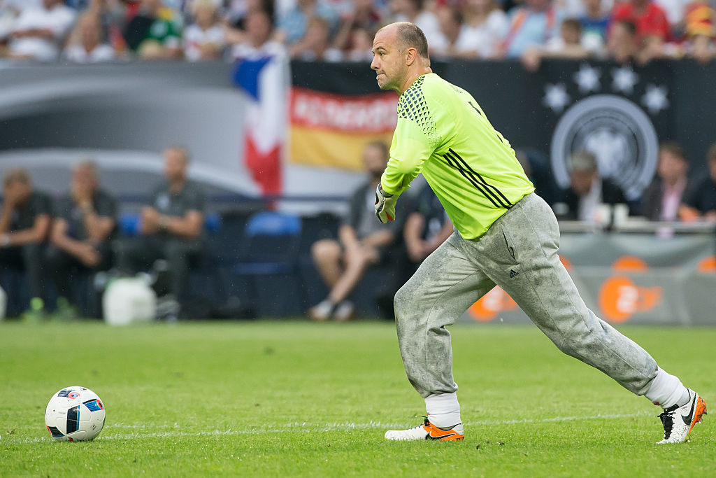 GELSENKIRCHEN, GERMANY - JUNE 04: Gabor Kiraly of Hungary with ball during the international friendly match between Germany and Hungary  at Veltins-Arena on June 4, 2016 in Gelsenkirchen, Germany. Germany won 2:0. (Photo by Maja Hitij/Bongarts/Getty Images)