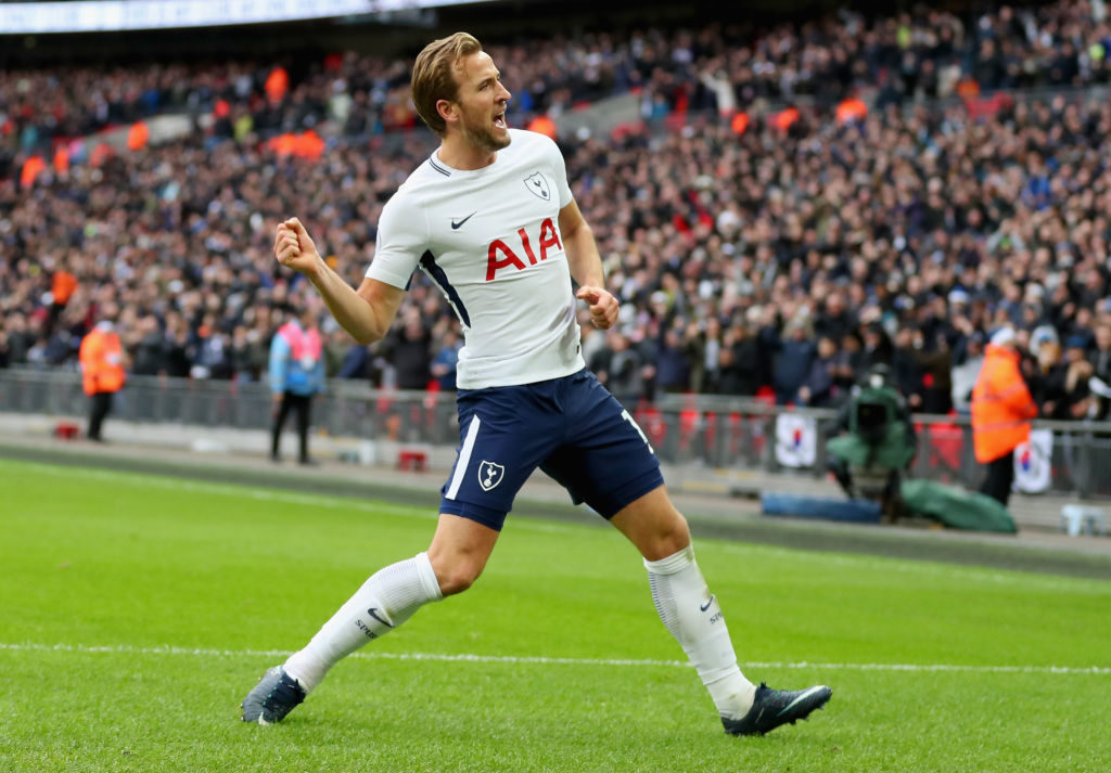 LONDON, ENGLAND - DECEMBER 26:  Harry Kane of Tottenham Hotspur celebrates after scoring his sides fifth goal during the Premier League match between Tottenham Hotspur and Southampton at Wembley Stadium on December 26, 2017 in London, England.  (Photo by Catherine Ivill/Getty Images)