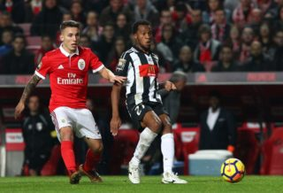 LISBON, PORTUGAL - DECEMBER 20:  Portimonense SC forward Wellington Carvalho from Brazil with SL Benfica defender Alejandro Grimaldo from Spain in action during the Portuguese League Cup match between SL Benfica and Portimonense SC at Estadio da Luz on December 20, 2017 in Lisbon, Portugal.  (Photo by Gualter Fatia/Getty Images)