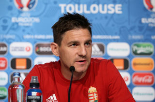 TOULOUSE, FRANCE - JUNE 25: In this handout image provided by UEFA,  Zoltan Gera of Hungary attends the press conference at Stadium Municipal on June 25, 2016 in Toulouse, France. (Handout photo provided by UEFA. Only editorial use relating to the event described is permitted. Photo may be distributed to third parties to use for the same purpose provided that no charge is made). (Photo by Handout/UEFA via Getty Images)