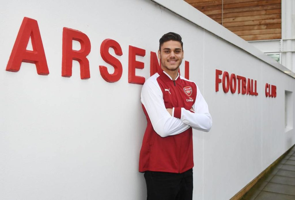ST ALBANS, ENGLAND - JANUARY 02:  New Arsenal signing Konstantinos Mavropanos at London Colney on January 2, 2018 in St Albans, England.  (Photo by Stuart MacFarlane/Arsenal FC via Getty Images)