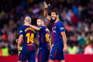 BARCELONA, SPAIN - JANUARY 07:  Luis Suarez of FC Barcelona celebrates after scoring his sides second goal during the La Liga match between Barcelona and Levante at Camp Nou on January 7, 2018 in Barcelona, Spain.  (Photo by Alex Caparros/Getty Images)