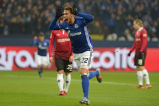 GELSENKIRCHEN, GERMANY - JANUARY 21: Marko Pjaca of Schalke celebrates after scoring his team`s first goal during the Bundesliga match between FC Schalke 04 and Hannover 96 at Veltins-Arena on January 21, 2018 in Gelsenkirchen, Germany. (Photo by TF-Images/TF-Images via Getty Images)