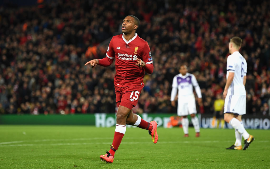 LIVERPOOL, ENGLAND - NOVEMBER 01: Daniel Sturridge of Liverpool celebrates scoring his sides third goal during the UEFA Champions League group E match between Liverpool FC and NK Maribor at Anfield on November 1, 2017 in Liverpool, United Kingdom.  (Photo by Michael Regan/Getty Images)