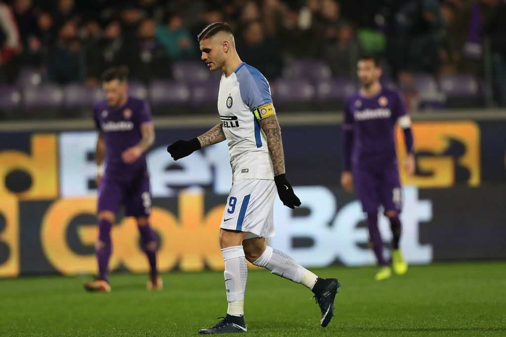 FLORENCE, ITALY - JANUARY 05: Mauro Icardi of FC Internazionale in action during the serie A match between ACF Fiorentina and FC Internazionale at Stadio Artemio Franchi on January 5, 2018 in Florence, Italy.  (Photo by Gabriele Maltinti/Getty Images)