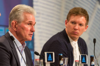 MUNICH, GERMANY - JANUARY 27: Head coach Jupp Heynckes of Bayern Muenchen and Head coach Julian Nagelsmann of Hoffenheim on the press conference after the Bundesliga match between FC Bayern Muenchen and TSG 1899 Hoffenheim at Allianz Arena on January 27, 2018 in Munich, Germany. (Photo by TF-Images/TF-Images via Getty Images)