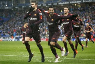 Gerard Pique scores during the match between RCD Espanyol vs FC Barcelona, for the round 22 of the Liga Santander, played at Cornella -El Prat Stadium on 3th February 2018 in Barcelona, Spain. (Photo by Urbanandsport/NurPhoto)