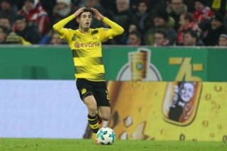 MUNICH, GERMANY - DECEMBER 20: Christian Pulisic of Borussia Dortmund reacts during the German Cup (DFB Pokal) soccer match between FC Bayern Munich and Borussia Dortmund at the Allianz Arena on December 20, 2017, in Munich, Germany. Christian Kolbert / Anadolu Agency