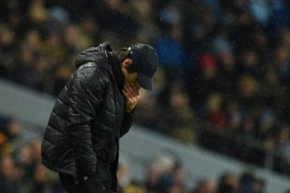 Chelsea's Italian head coach Antonio Conte reacts during the English Premier League football match between Manchester City and Chelsea at the Etihad Stadium in Manchester, north west England on March 4, 2018. / AFP PHOTO / Oli SCARFF / RESTRICTED TO EDITORIAL USE. No use with unauthorized audio, video, data, fixture lists, club/league logos or 'live' services. Online in-match use limited to 75 images, no video emulation. No use in betting, games or single club/league/player publications.  /