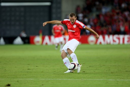Hapoel Beer-Sheva's Hungarian defender Mihaly Korhut in action during the UEFA Europa League football match group K between Hapoel Beer-Sheva and Southampton, on September 29, 2016, at the Turner Stadium in the Israeli southern city of Beer Sheva. (Photo by Ahmad Mora/NurPhoto)