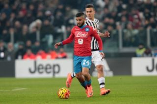 Napoli's player Insigne vies with Juventus' player Dybala during the Italian Serie A football match between SSC Napoli and FC Juventus at Juventus Stadium in Turin on February 13, 2016. PH. CONTROLUCE/ PIETRO MOSCA