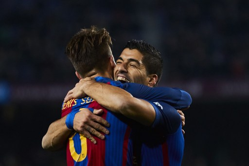 Denis Suarez (FC Barcelona) celebrates with his teammate Luis Suarez (FC Barcelona) after scoring, during Kings Cup soccer match between FC Barcelona and Real Sociedad, at the Camp Nou stadium in Barcelona Spain. Thursday, January 26, 2017. Foto: S.Lau