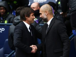 Manchester City manager Pep Guardiola shakes hands with counterpart Antonio Conte of Chelsea ahead of the Premier League match between Manchester City and Chelsea played at the Etihad Stadium, Manchester, England, on December 3, 2016 - Photo Matt West / Backpage Images / DPPI