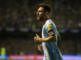 BUENOS AIRES, ARGENTINA - OCTOBER 06: Lionel Messi of Argentina in action during the 2018 FIFA World Cup Qualification match between Argentina and Peru at the Estadio Alberto J. Armando Stadium in Buenos Aires, Argentina on October 06, 2017.   Mariano Sanchez / Anadolu Agency