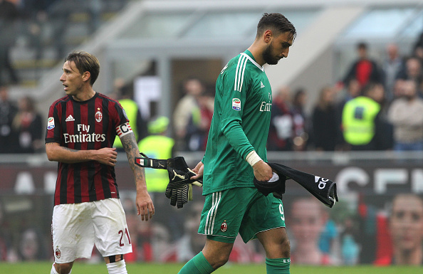 during the Serie A match between AC Milan and Genoa CFC at Stadio Giuseppe Meazza on October 22, 2017 in Milan, Italy.